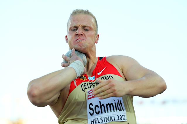 HELSINKI, FINLAND - JUNE 29: Marco Schmidt of Germany competes in the Men's Shot Put Final during day three of the 21st European Athletics Championships at the Olympic Stadium on June 29, 2012 in Helsinki, Finland. (Photo by Ian Walton/Getty Images)