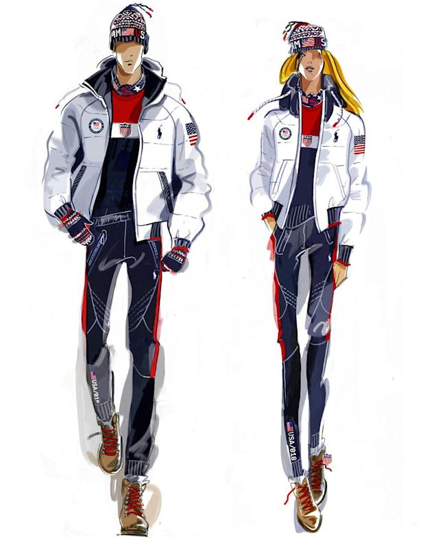 <p>This is a sketch of the uniforms, designed by Ralph Lauren, that Team USA will wear for the closing ceremony. (Photo: courtesy of Ralph Lauren) </p>
