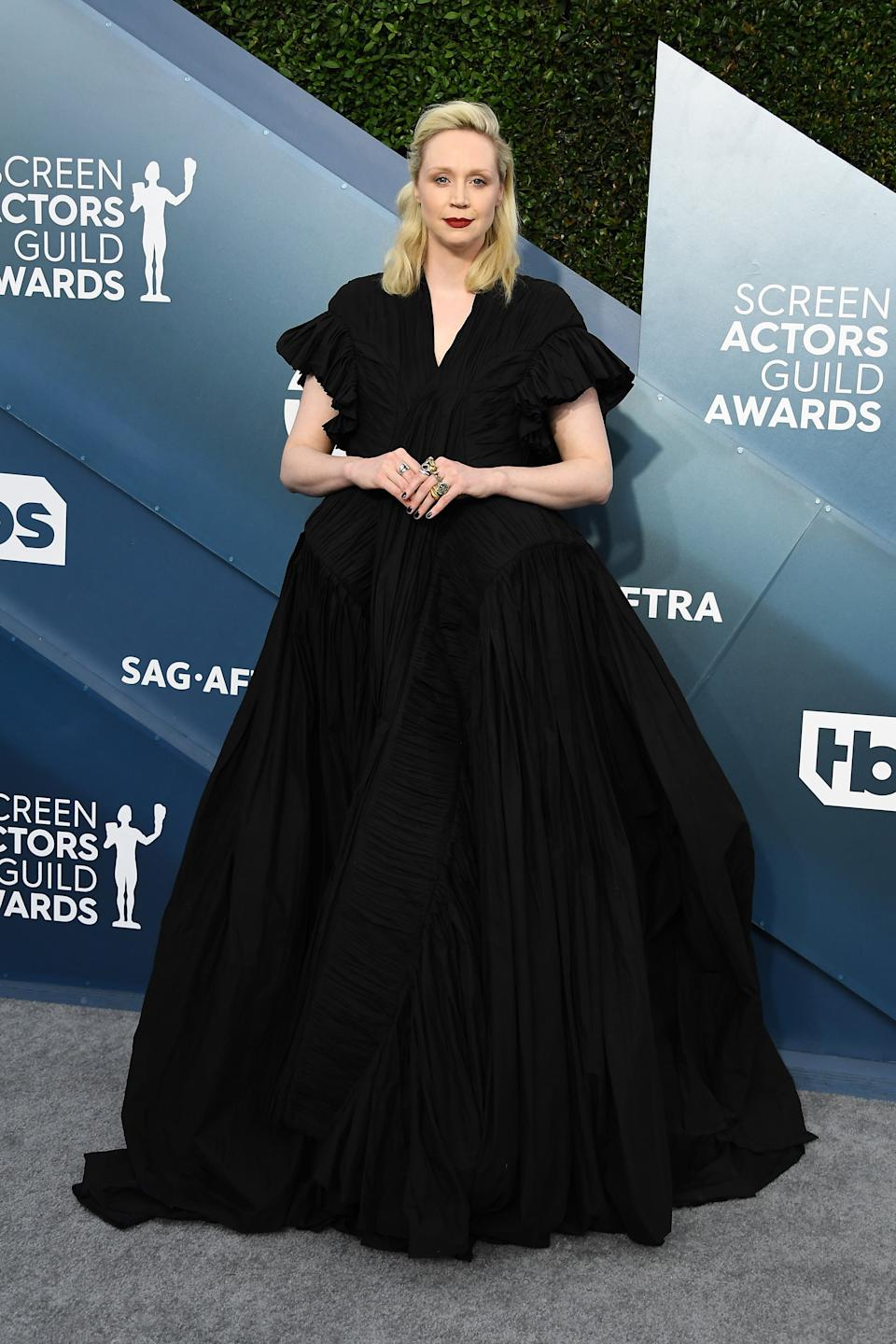 """<h2>Gwendoline Christie in Rick Owens</h2><br>Can we all just take a second to appreciate Gwendoline Christie's awe-inspiring black voluminous dress? It truly is impeccable.<span class=""""copyright"""">Photo by Steve Granitz/WireImage.</span>"""