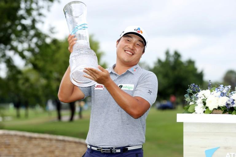 South Korea's Lee Kyoung-hoon celebrates his first US PGA Tour victory at the Byron Nelson tournament in suburban Dallas