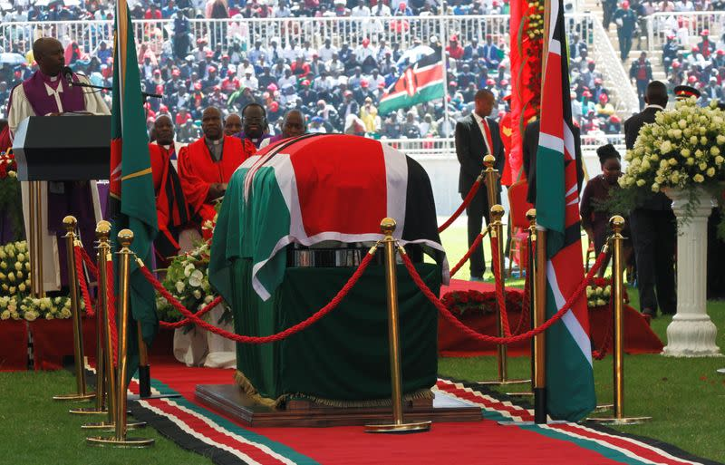 The coffin of late former Kenya's President Daniel Arap Moi draped in the national flag is seen during a memorial service at the Nyayo Stadium in Nairobi