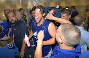 Kershaw helped lead the Dodgers into the National League Championship Series. (AP)