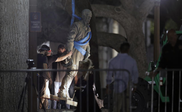 "<p>A statue of Confederate Gen. Robert E. Lee is removed from the University of Texas campus, early Monday morning, Aug. 21, 2017, in Austin, Texas. University of Texas President Greg Fenves ordered the immediate removal of statues of Robert E. Lee and other prominent Confederate figures from a main area of campus, saying such monuments have become ""symbols of modern white supremacy and neo-Nazism."" (AP Photo/Eric Gay) </p>"