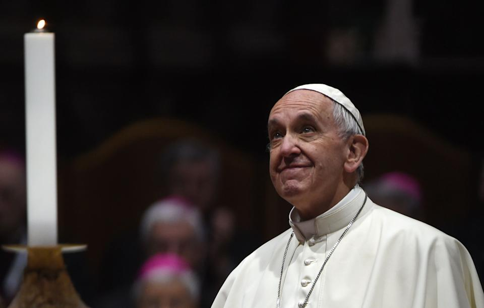 Pope Francis made a call to theInternational Space Station on October 26. (Photo: FILIPPO MONTEFORTE via Getty Images)