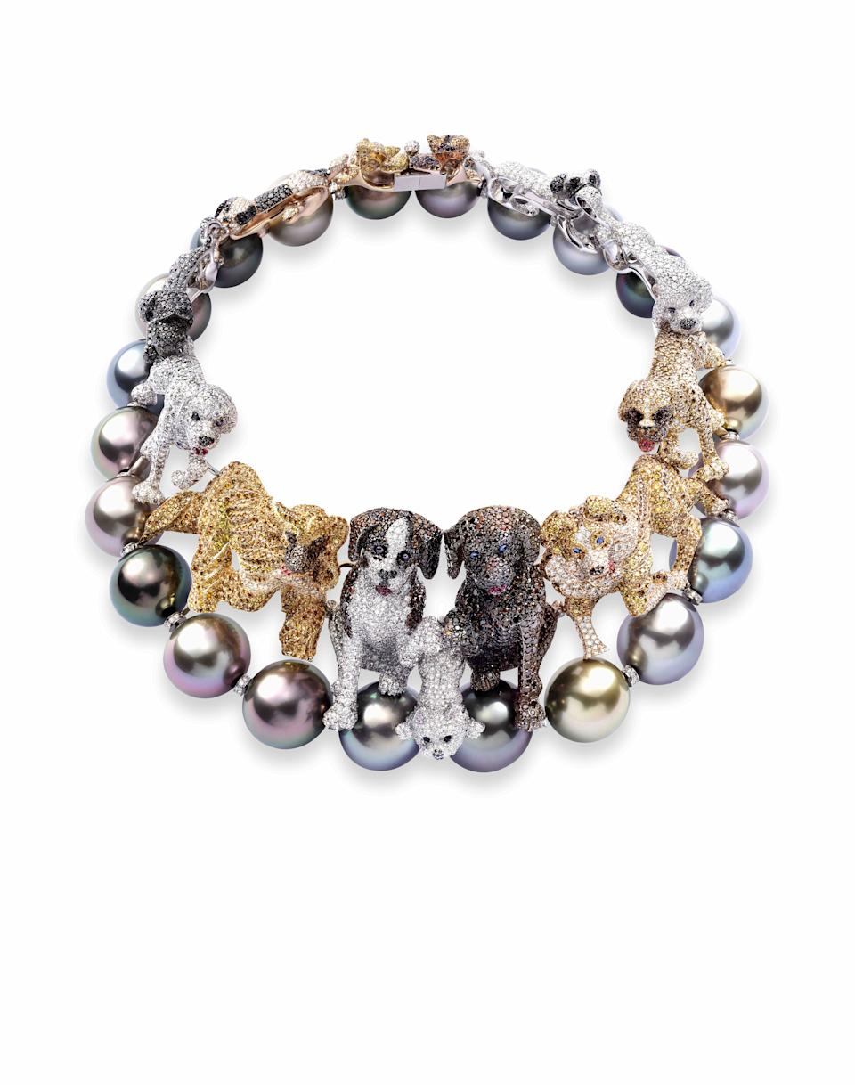Chopard necklace with dogs and pearls. - Credit: Courtesy of Chopard