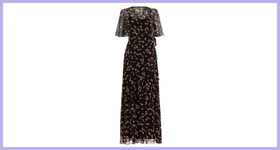 Phase Eight Pemberly Floral Maxi Short Sleeve Dress Black