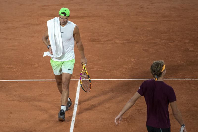 Rafael Nadal and Alexander Zverev of German during a practice match with Rafael Nadal of Spain on Court Philippe-Chatrier in preparation for the 2020 French Open.