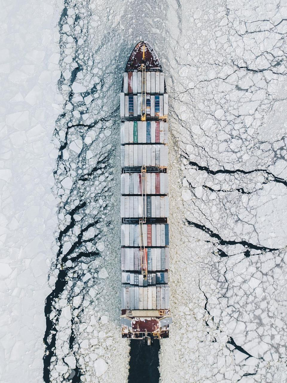 A cargo ship shot by Russian photographer Alexander Sukharev (Picture: Alexander Sukharev)