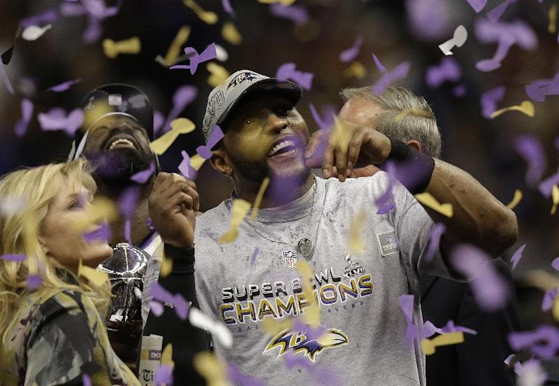 Baltimore Ravens linebacker Ray Lewis celebrates after defeating the San Francisco 49ers 34-31 in the NFL Super Bowl XLVII football game, Sunday, Feb. 3, 2013, in New Orleans. (AP Photo/Gene Puskar)