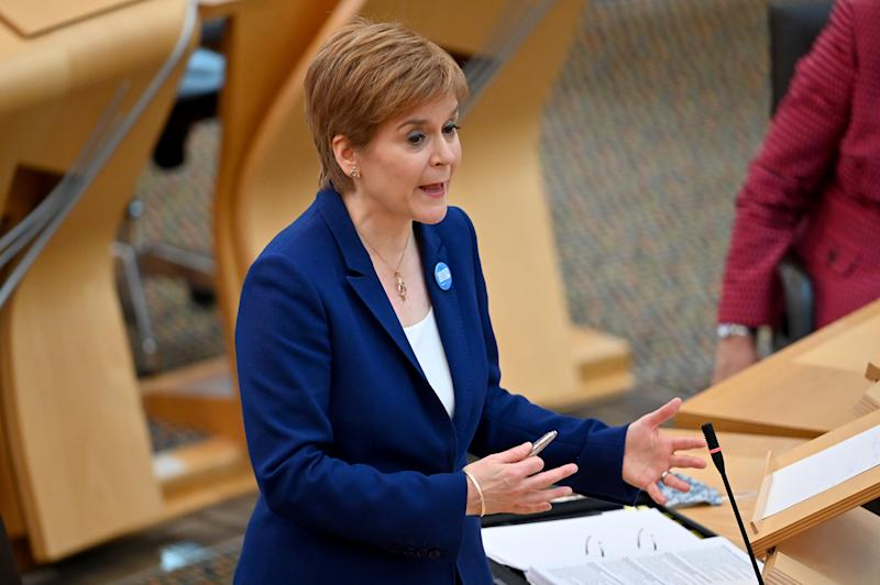 EDINBURGH, SCOTLAND - OCTOBER 08: Scottish First Minister Nicola Sturgeon takes questions during First Minister's Questions at the Scottish Parliament on October 8, 2020 in Edinburgh, Scotland. (Photo by Jeff J Mitchell - Pool /Getty Images)