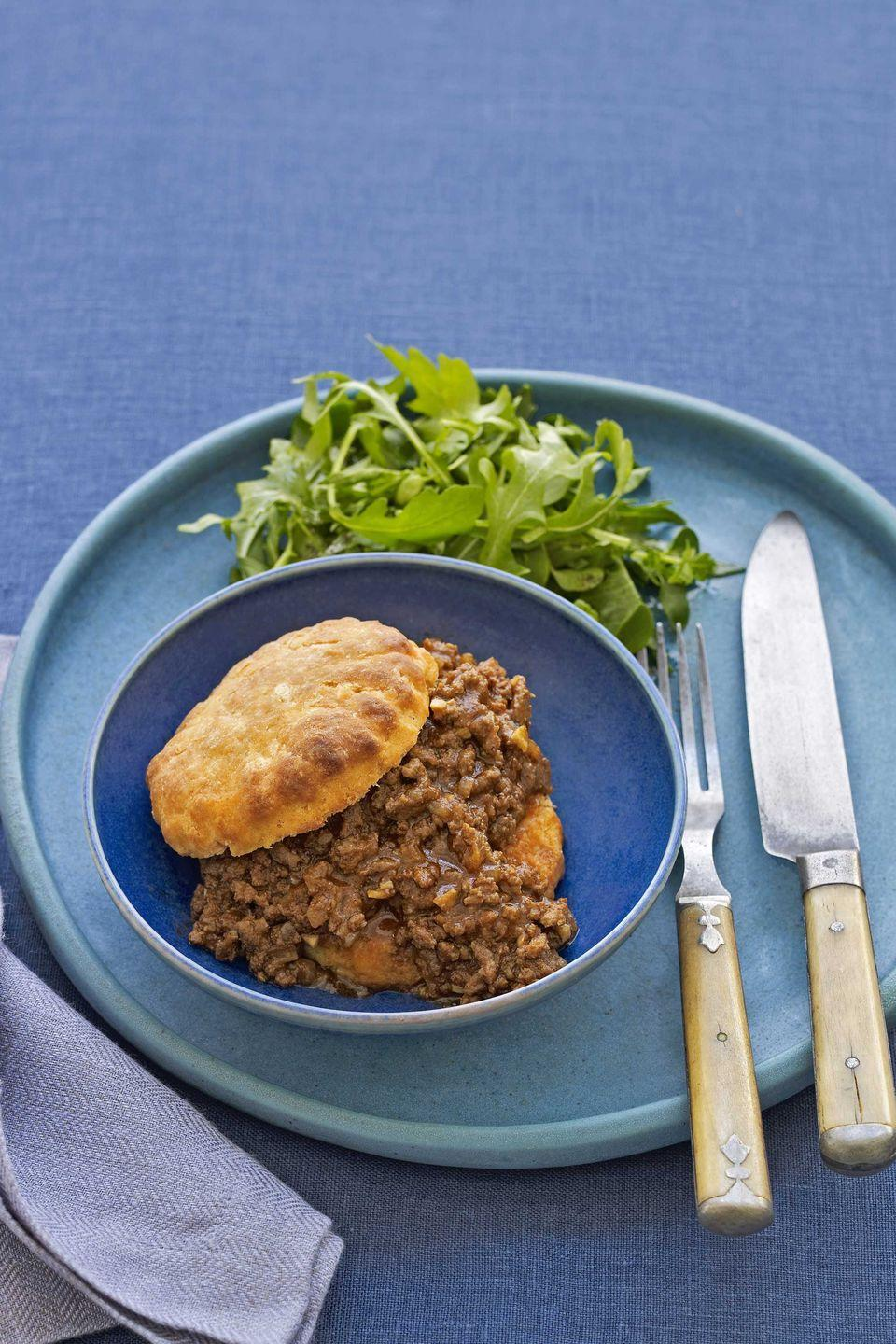 "To make this dish vegetarian, replace the meat with two 15-ounce cans of black beans, drained, then add right before the mixture is brought to a boil. <a href=""https://www.countryliving.com/food-drinks/recipes/a2697/sloppy-joes-recipe/"" rel=""nofollow noopener"" target=""_blank"" data-ylk=""slk:Get the recipe."" class=""link rapid-noclick-resp""><strong>Get the recipe.</strong></a>"
