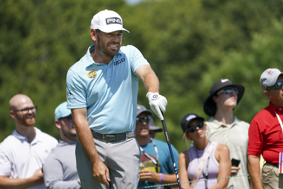 Louis Oosthuizen watches his tee shot on the 11th hole during the final round of the 3M Open golf tournament in Blaine, Minn., Sunday, July 25, 2021. (AP Photo/Craig Lassig)