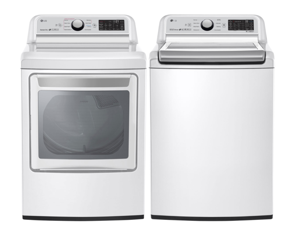 LG TurboWash Top Load Washer & Electric Dryer in White (Photo via Best Buy Canada)
