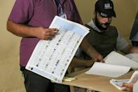 Iraqi election officials conduct a manual count of votes on a ballot box picked at random as part of the verification process for the electronic count at a polling station in the central holy shrine city of Karbala on October 10, 2021 (AFP/Mohammed SAWAF)