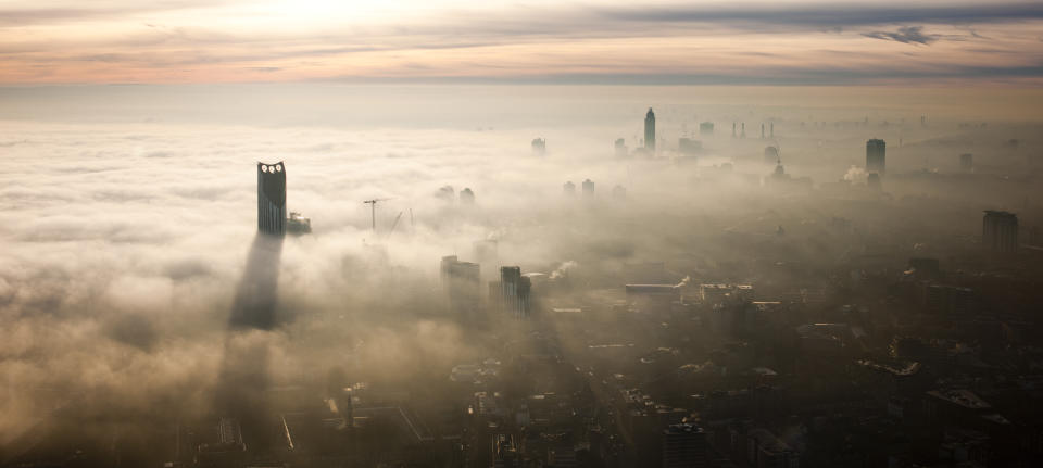 Aerial view of London city shrouded in mist. Photo: Getty