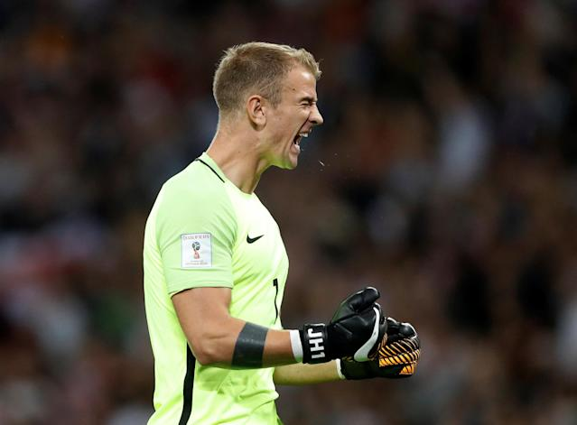 <p>Soccer Football – 2018 World Cup Qualifications – Europe – England vs Slovakia – London, Britain – September 4, 2017 England's Joe Hart celebrates after Marcus Rashford scores their second goal Action Images via Reuters/Carl Recine </p>