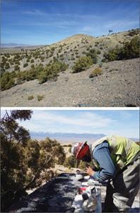 RC drill program at VR's Reveille silver-copper property in Nevada, March, 2021.  Upper Photo: view north at drill hole RV21-003 with the drill rig on the T3 conductor shown in Figure 1, and the drill pad prepared on the G1 jasperoid target up the ridgeline, also shown on Figure 1.  Lower photo: logging drill chips from 5 ft drill runs on the drill hole at T3.
