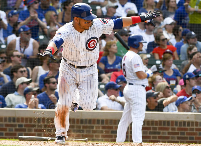 Chicago Cubs' Willson Contreras (40) after he hits a two RBI double during the seventh inning of a baseball game against the Detroit Tigers on Wednesday, July 4, 2018, in Chicago. (AP Photo/Matt Marton)