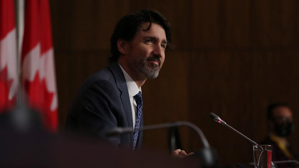 Canadian Prime Minister Justin Trudeau speaks during a news conference April 16, 2021 in Ottawa, Canada. (Photo by Dave Chan / AFP) (Photo by DAVE CHAN/AFP via Getty Images)