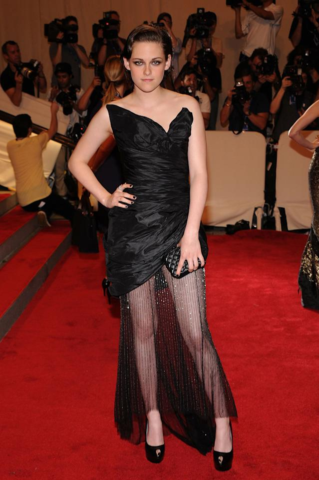 """<strong>Sheer Layers</strong><br><br>Stars like Kristen Stewart, Vanessa Hudgens, and Liv Tyler <span></span><a target=""""_blank"""" href=""""http://omg.yahoo.com/blogs/aline/vanessa-hudgens-sheer-style-194203627.html"""">are fond</a> of wearing """"glamorous mini dresses with diaphanous, draped skirts,"""" but film stylist Jessica Pazdernik hopes they won't be appearing at the Oscars. """"It doesn't feel appropriate for the red carpet,"""" she says. """"It is a mini underneath and a long dress on the top. It doesn't know what it wants to be."""""""