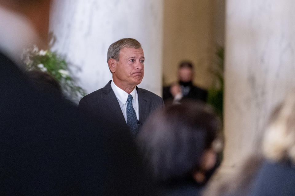 U.S. Supreme Court Chief John Roberts reacts after speaking during a private ceremony for Associate Justice Ruth Bader Ginsburg at the U.S. Supreme Court, on September 23, 2020 in Washington, DC. (Andrew Harnik-Pool/Getty Images)