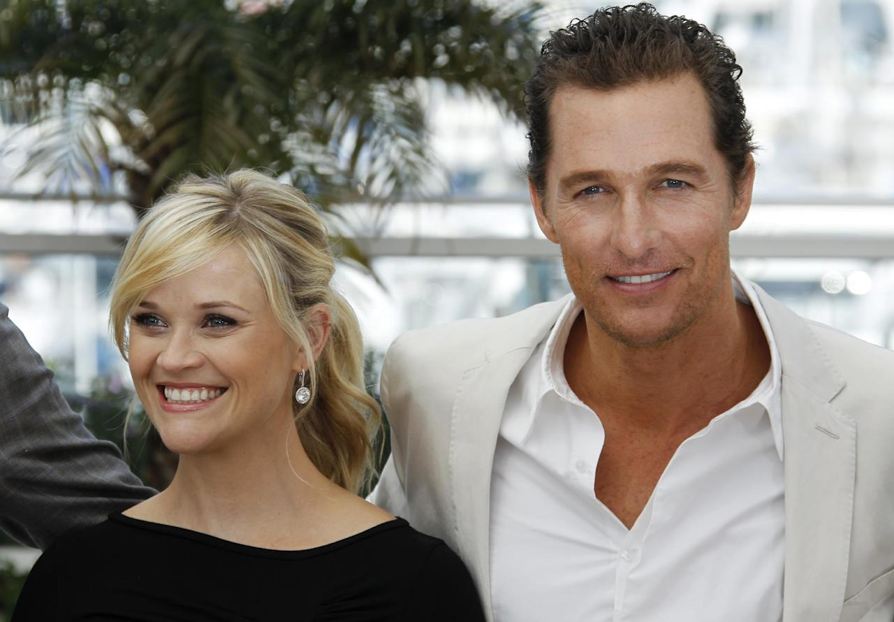 Actors Reese Witherspoon, left, and Matthew McConaughey pose during a photo call for Mud at the 65th international film festival, in Cannes, southern France, Saturday, May 26, 2012. (AP Photo/Joel Ryan)