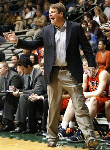 UTEP head coach Tim Floyd reacts during the first half of an NCAA college basketball game against Tulane in New Orleans, Saturday, Jan. 21, 2012. (AP Photo/Jonathan Bachman)
