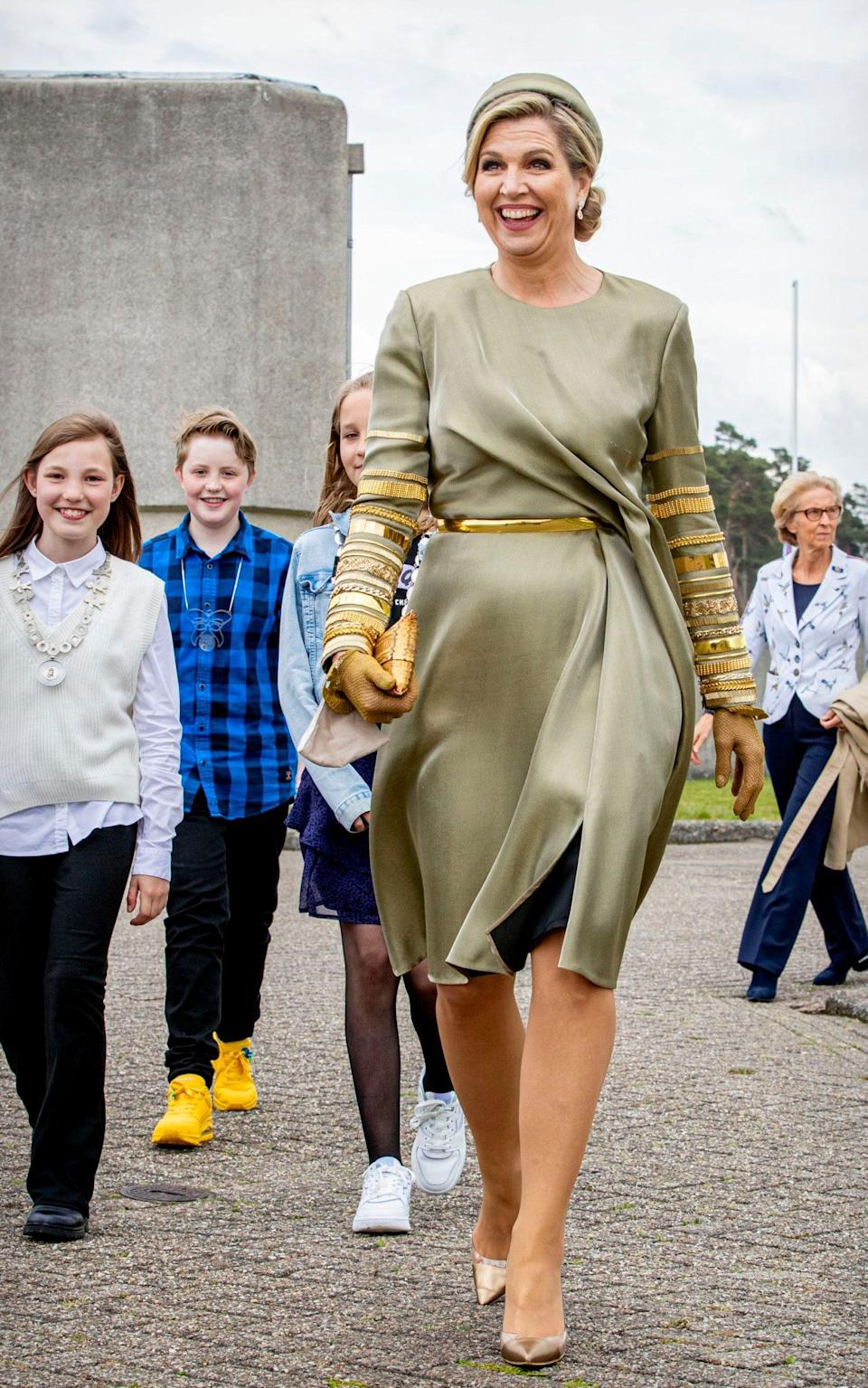Queen Maxima wears a dress by Claes Iverson - Getty