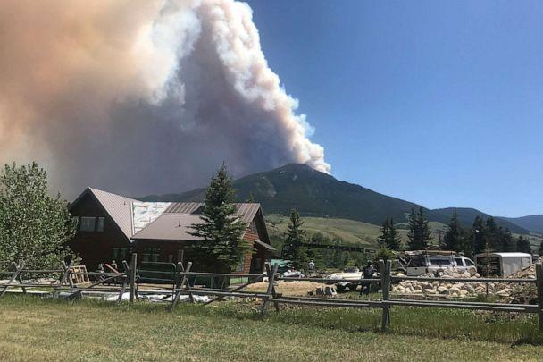PHOTO: The Robertson Draw fire is seen burning south of Red Lodge, Mont., June 15, 2021. Authorities warned of extreme wildfire danger in Montana and Wyoming as a sweltering heat wave was forecast to intensify. (Jim Bentler via AP)