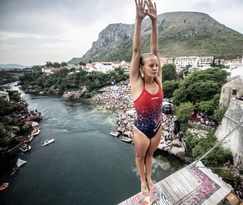 The 28-year-old has taken home four consecutive Red Bull Cliff Diving World Series titles. Photo: Supplied