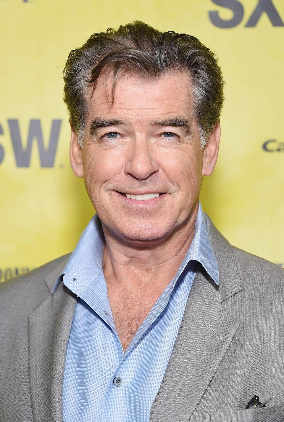 <p>We were first introduced to Pierce Brosnan's chest hair when he played James Bond in <em>GoldenEye</em> in 1995. Since then, he's made it his best red carpet accessory.</p>