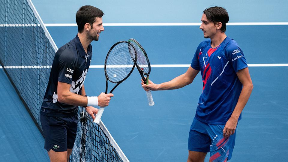 Lorenzo Sonego, pictuered here after handing Novak Djokovic his worst two-set loss ever.