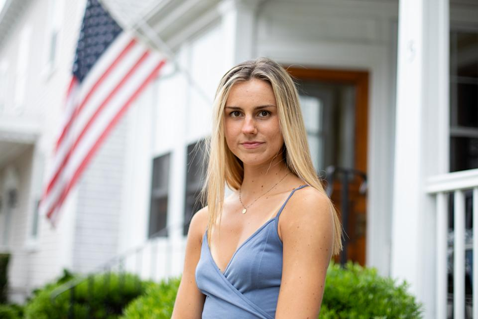 Lilly Bestoso outside her home in Newport, R.I. (Kayana Szymczak for Yahoo News)