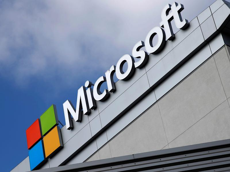 FILE PHOTO: A Microsoft logo is seen a day after Microsoft Corp's $26.2 billion purchase of LinkedIn Corp, in Los Angeles, California, U.S. June 14, 2016. REUTERS/Lucy Nicholson/File Photo