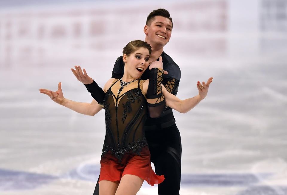 ussian pair Anastasia Mishina and Aleksandr Galliamov perform during the Pairs Short Program at the Figure Skating World Championships in Stockholm, Sweden, Wednesday, March 24, 2021. (AP Photo/Martin Meissner)