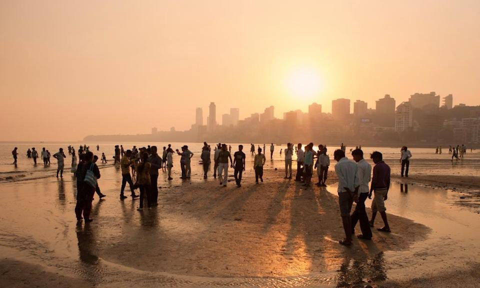 Sunset on Chowpatty Beach on Marine Drive, Mumbai