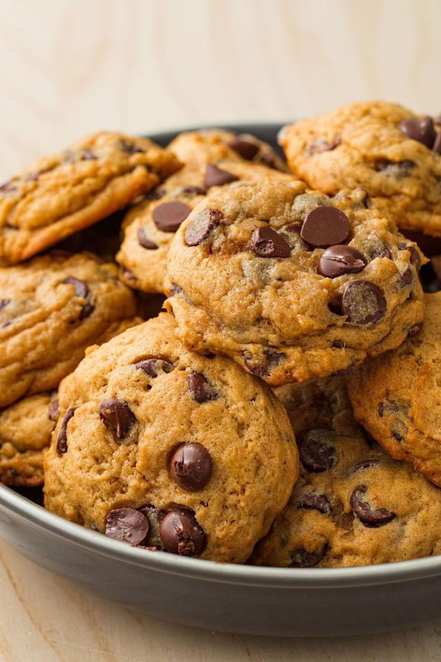"""<p>Everyone's favorite cookie gets a delicious Fall upgrade. </p><p>Get the recipe from <a rel=""""nofollow"""" href=""""https://www.delish.com/cooking/recipe-ideas/recipes/a55742/pumpkin-spice-chocolate-chip-cookies-recipe/"""">Delish. </a></p>"""