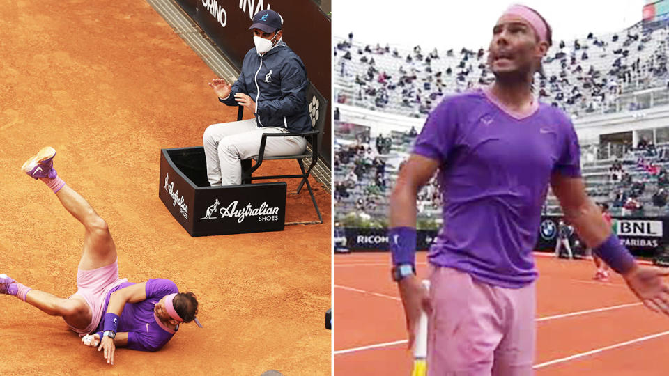 Rafael Nadal, pictured here blasting the chair umpire after taking a nasty fall.