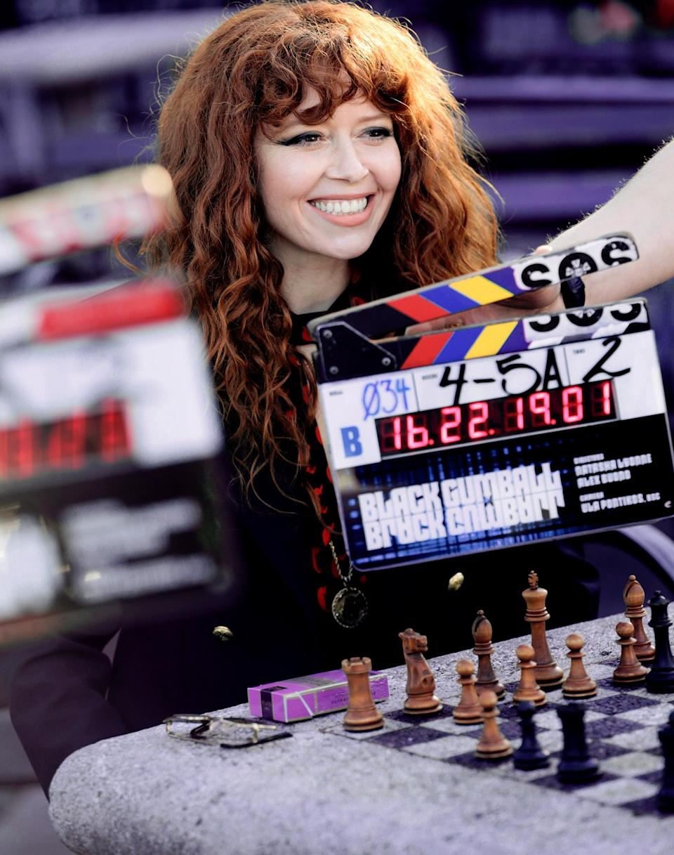 <p>A smiling Natasha Lyonne is ready for her close-up on the New York City set of <em>Russian Doll</em> on Monday.</p>