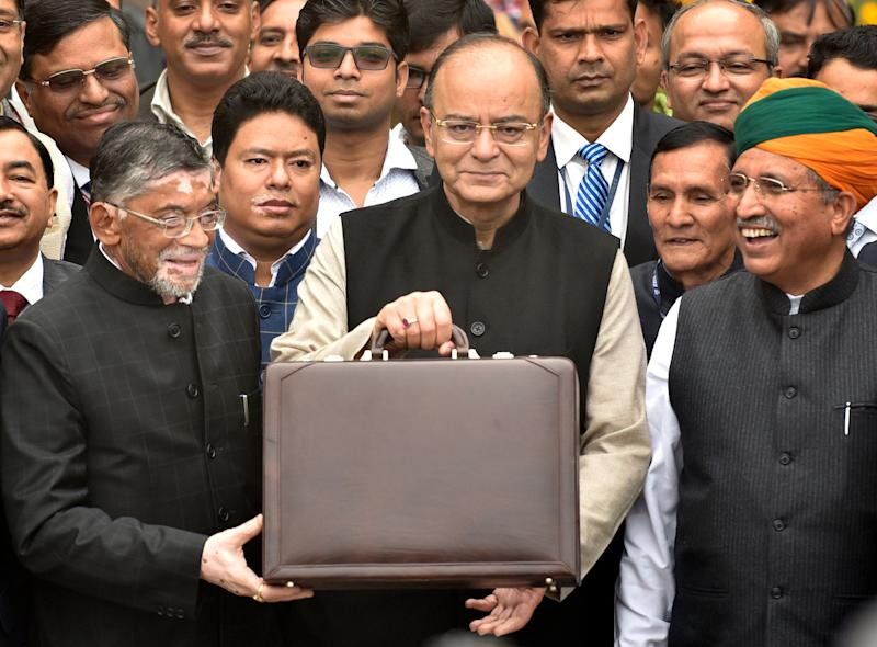 Arun Jaitley ahead of the Union Budget 2017 presentation on 1 February, 2017, in New Delhi. (Photo: Hindustan Times via Getty Images)