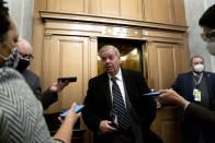 Sen. Lindsey Graham, R-S.C., speaks to reporters on the fifth day of the second impeachment trial of former President Donald Trump, Saturday, Feb. 13, 2021 at the Capitol in Washington. (Stefani Reynolds/Pool via AP)