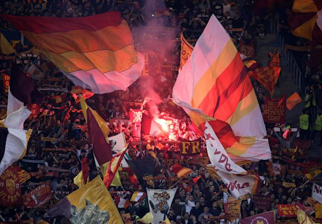 Soccer Football - Champions League Semi Final Second Leg - AS Roma v Liverpool - Stadio Olimpico, Rome, Italy - May 2, 2018 Roma fans light a flare inside the stadium before the match REUTERS/Max Rossi