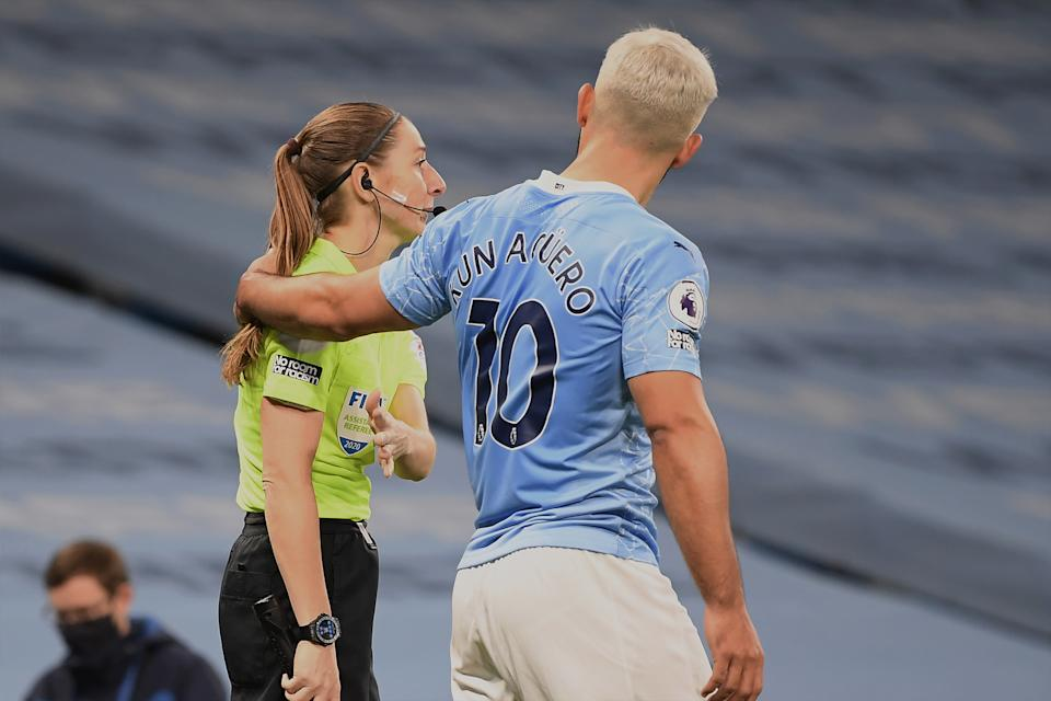 If Sian Massey-Ellis was a man, would Sergio Aguero have put his arm in a match official like that? (Photo by Michael Regan/Getty Images)