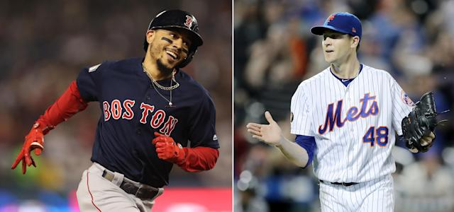 "<a class=""link rapid-noclick-resp"" href=""/mlb/players/9552/"" data-ylk=""slk:Mookie Betts"">Mookie Betts</a> is a finalist for the AL MVP and <a class=""link rapid-noclick-resp"" href=""/mlb/players/9701/"" data-ylk=""slk:Jacob deGrom"">Jacob deGrom</a> is a Cy Young finalist in the NL. (Getty Images)"