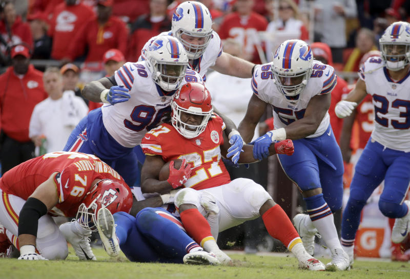 Kansas City Chiefs running back Kareem Hunt (27) is tackled by the Bills during a tough day for the Chiefs offense. (AP)