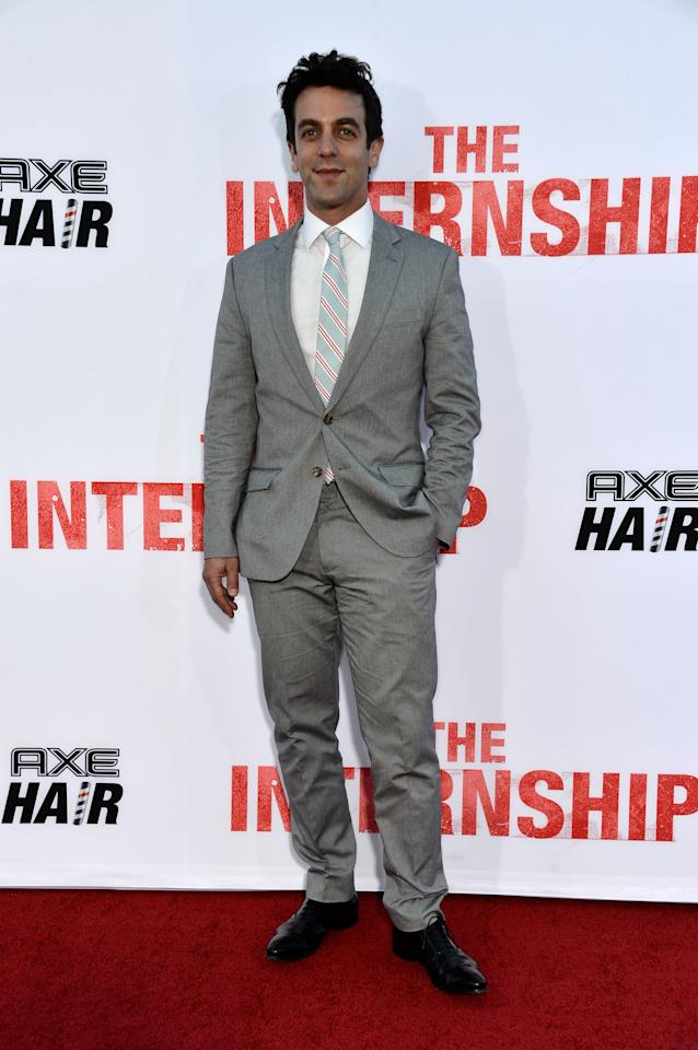 "WESTWOOD, CA - MAY 29: Actor B. J. Novak arrives at the premiere of Twentieth Century Fox's ""The Internship"" at Regency Village Theatre on May 29, 2013 in Westwood, California. (Photo by Frazer Harrison/Getty Images)"