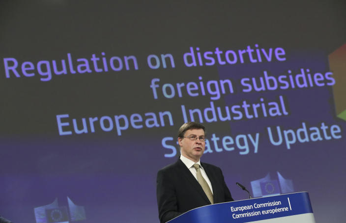 European Commission Vice President Valdis Dombrovskis speaks during a media conference on the proposal for a Regulation to address distortions caused by foreign subsidies in the Single Market and on the European Industrial Strategy Update at EU headquarters in Brussels, Wednesday, May 5, 2021. (Yves Herman, Pool via AP)