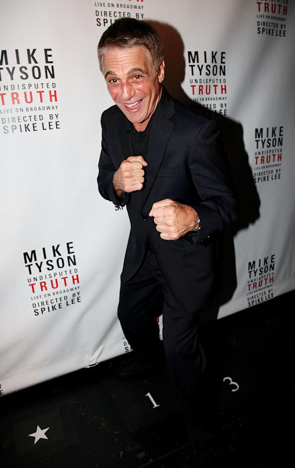 Renaissance man Tony Danza, who made a living as a professional boxer prior to becoming an actor, showed off a few of his old moves on his way in.