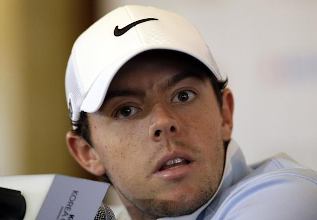 Two-time major champion Rory McIlroy of Northern Ireland listens to a reporter's questions during a news conference ahead of the Korea Open golf tournament in Seoul, South Korea, Tuesday, Oct. 15, 2013. The Korea Open will be held as a part of the KPGA tour from Oct. 17 to 20. (AP Photo/Lee Jin-man)