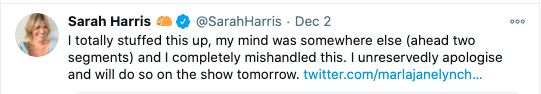 Sarah Harris also apologised on Twitter. Photo: Twitter/Sarah Harris